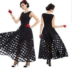 HP🌟 Black Mesh Checkered Maxi Dress